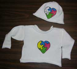knit cotton Baby sweater and cap with handpainted Autism Heart Puzzle