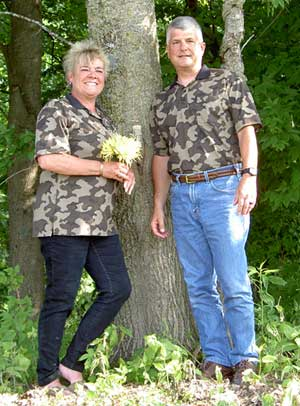 This isn't a deer hunting photo, but Scott and Lori obviously love Winona Camo to wear these fabric Winona shirts on their Wedding day, sorry we don't carry the fabric Winona products - just the Winona Knit Camo!
