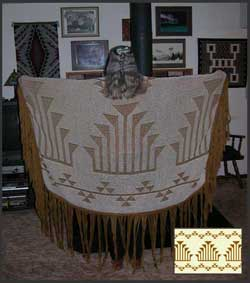 Photo of a dance shawl featuring the Frogs Hand and three Snake Nose basketry motifs
