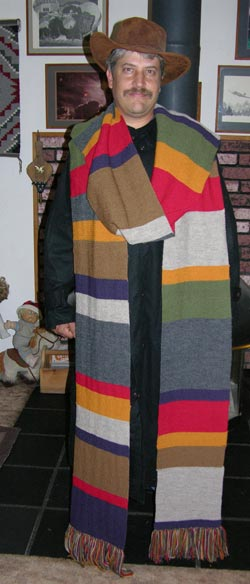 Doctor Who Season 12 Hand Knit Wool Garter Stitch Scarf hand knit by Sharon Nani owner of The Knit Tree