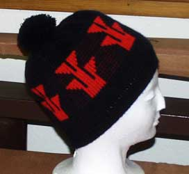 Knit Basket Cap with Native American Foot Motif
