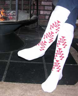 Unique Cotton Knee High hand painted knit sock slipper with the frog foot Native Ameerican design