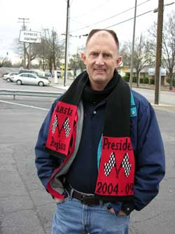 Knit Logo scarf personalized for the out going president of Shasta Region PCA