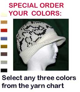 A Camo Beanie  Visor Cap  ~ Choose Size and Color ~ Merino Wool / Acrylic Blend