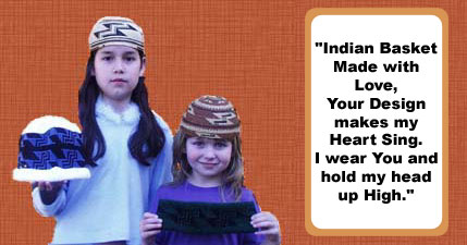 Photo of Darlenes granddaughters wearing the woven basketry hats and holding the knit cap and headband