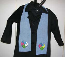 Autism Awareness Heart Puzzle Knit on a Scarf