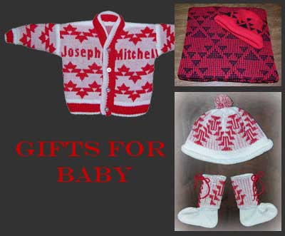 Collection of knit baby gifts including blankets, baby sweaters, and cap bootie set