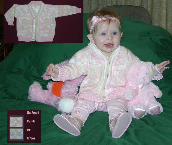 Baby Cardi in Cotton Pink Camouflage Choose Size: Newborn or 6 Months