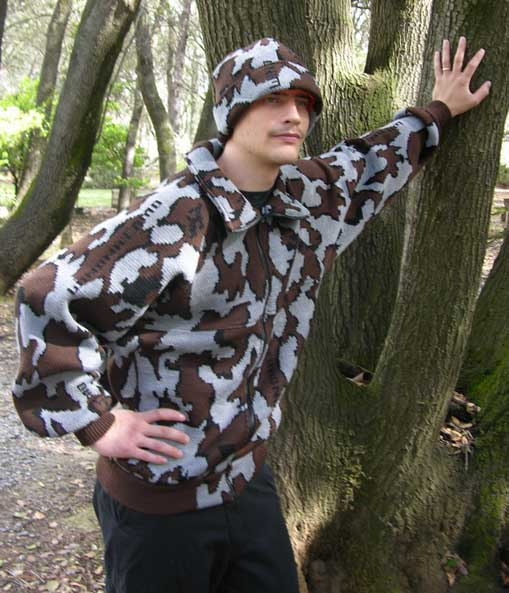 A Camo Knit Winona Jacket ~ Raglan Sleeves ~ Grey / Black / Brown ~ Merino Wool / Acrylic