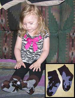 Knit child camouflage slipper socks make great gifts and keep the little feet warm