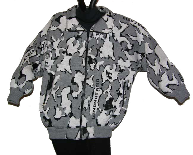 Knit Camouflage Raglan Jacket in Snow Camo