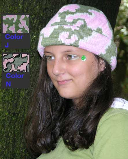 """Pink"" Camouflage Boarder Beanie ~ Choose Size  & Color ~ Merino Wool / Acrylic Blend"