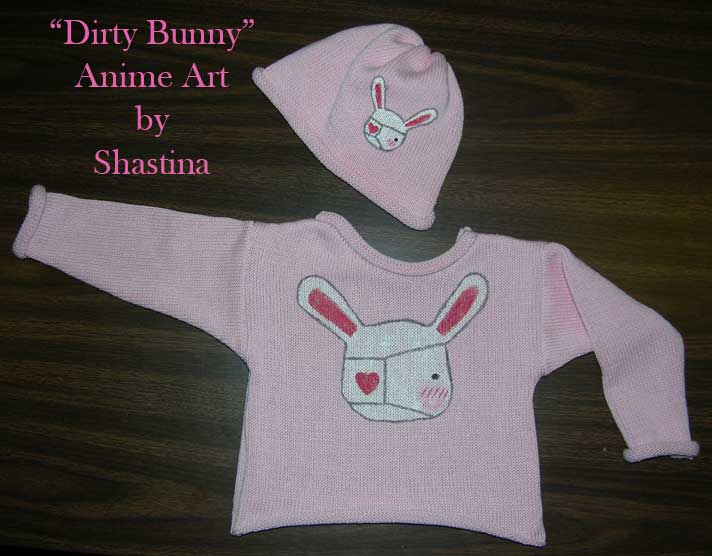 Handpainted Anime Dirty Bunny Pullover and Hat Set ~ Size 2T