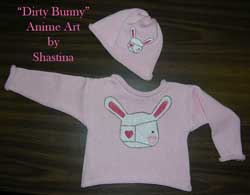 Dirty Bunny Cotton Pullover and Cap set with one of a kind Anime Art painted on it.