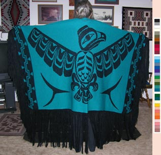 Dance Shawl ~ Acrylic or Merino Wool ~ Eagle Design ~ Salish Reproduction ~ Select Colors