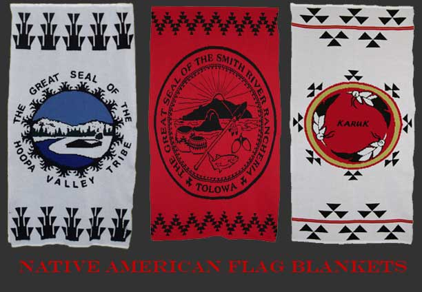 Indian knit Flag Blankets from the Hoopa, Tolowa, and Karuk Native American Tribes