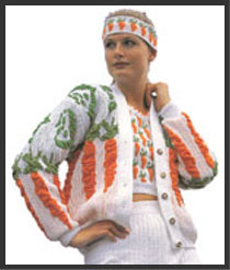 Carrots and Peas Blister Cardi designed by Sharon Nani for the Passap Model Book 59