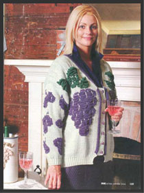 Plumpious Grapes Blister cardigan designed by sharon Nani for the Knitters magazine