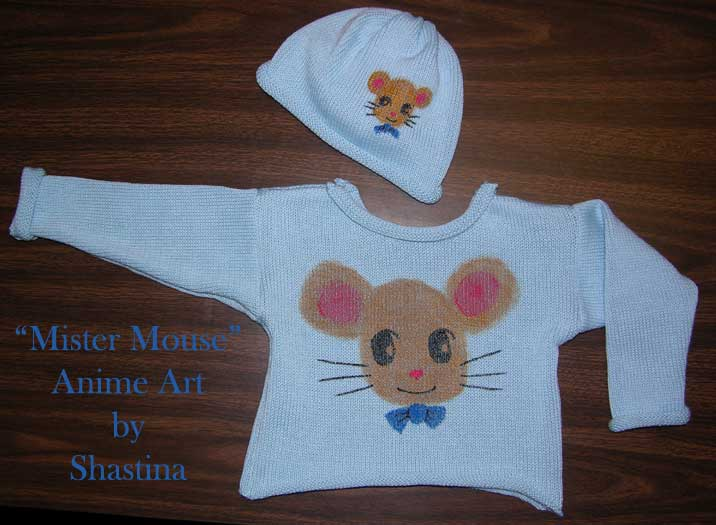 Handpainted Anime Mister Mouse Pullover and Hat Set ~ Size 2T