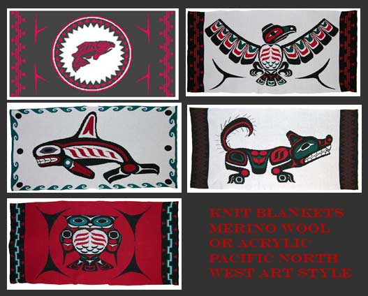 knit Pacific Northwest art blankets in merino wool or acrylic Eagle Salmon Orca Wolf Owl