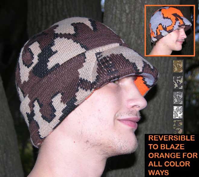 Survivor hat shown in color way E reversible to blaze orange camo