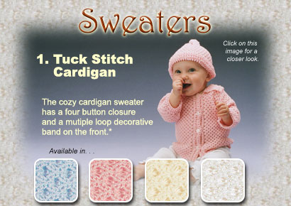 Honeycomb Tuck Sweater: Size New Born or 6 M ~ Choose Color