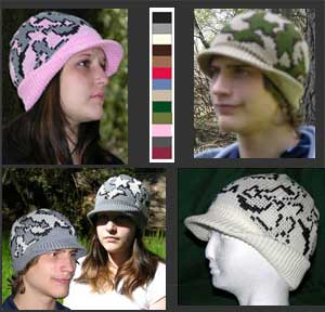 hand loomed Knit Camouflage Visor Caps in Superfine Merino Wool and Acrylic Yarn