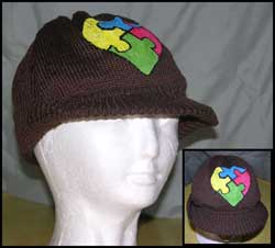 Cotton knit Visor Cap with handpainted Autism Heart Puzzle