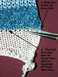 knitting technique of scrapping on or off and removing the scrap yarn when project is knit