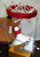Figure 3: It shows a modern day yarn winder with a swift to hold the hand spun or hanks of yarn and its cones.