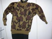 Knit Winona Camouflage Crew Neck Sweater in Color Q:Mocha Black Brown