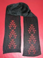 Black Knit Rayon Scarf with Hand painted Frog Foot Motif painted in Red