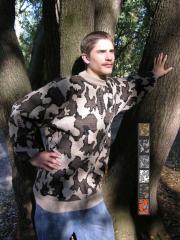 Knit Winona Camouflage Crew Neck Sweater in Color E: camel / black / brown