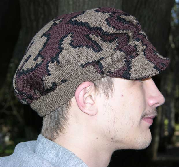 """A Knit Winona Camo Ridge Runner Hat ~ choose color & Size ~ 100% merino"""